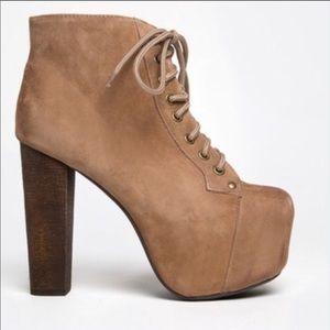 Jeffery Campbell Kira's Tan Lace Up Boots